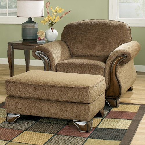 Signature Design by Ashley Montgomery - Mocha Chair & Ottoman with Exposed Wood Detail