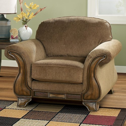1f684a30c94113 Signature Design by Ashley Montgomery - Mocha Chair with Flared Arms &  Exposed Faux Wood