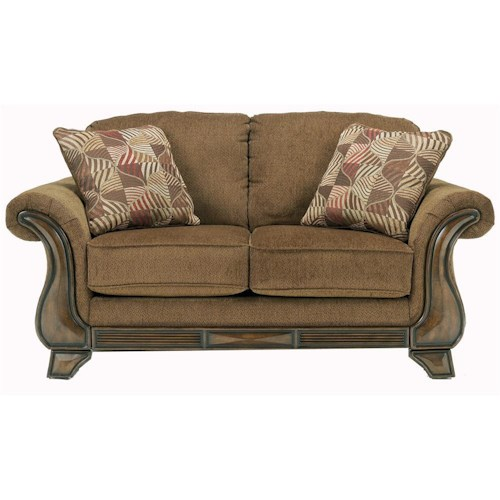 Signature Design by Ashley Montgomery - Mocha Loveseat with Exposed Wood Detail