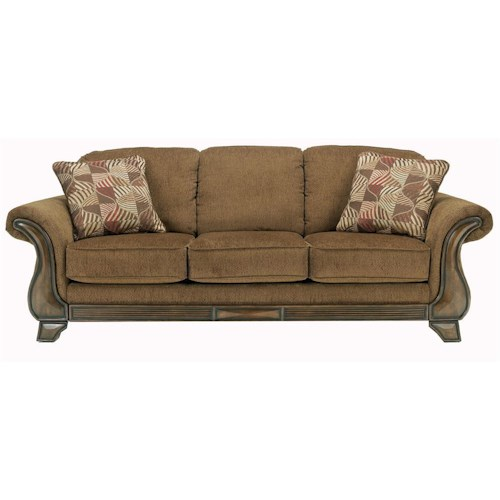 Signature Design by Ashley Montgomery - Mocha Sofa with Flared Arms & Exposed Wood