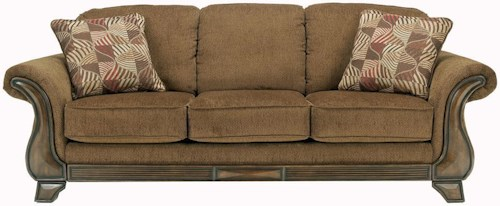 Signature Design by Ashley Montgomery - Mocha Queen Sofa Sleeper with Flared Arms & Exposed Faux Wood