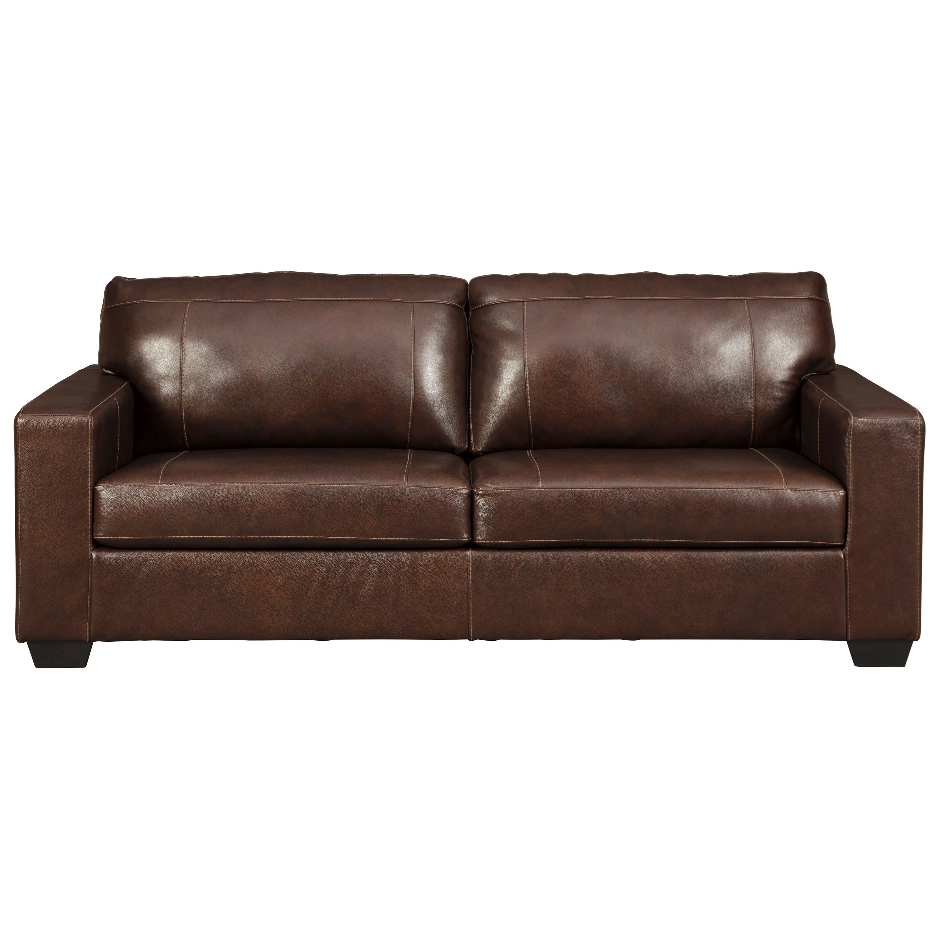 Contemporary Leather Match Sofa with Track Arms and 2 Seat Cushions