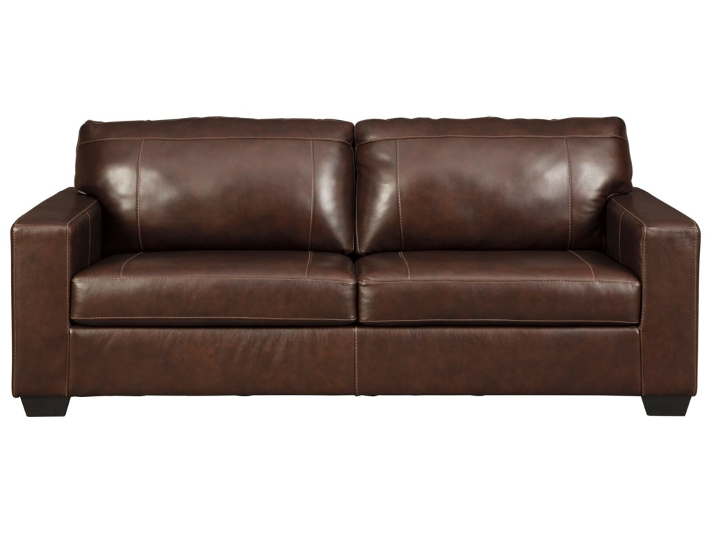 Morelos Contemporary Leather Match Sofa with Track Arms and 2 Seat Cushions  by Signature Design by Ashley at Zak\'s Home