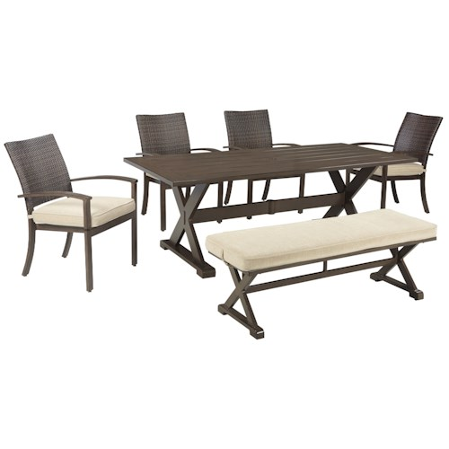Signature Design by Ashley Moresdale Outdoor Dining Set with Bench