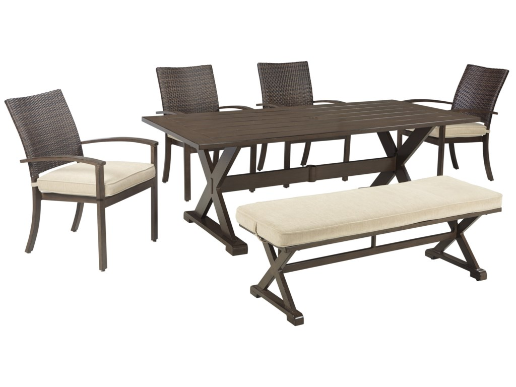 Signature Design by Ashley MoresdaleOutdoor Dining Set with Bench