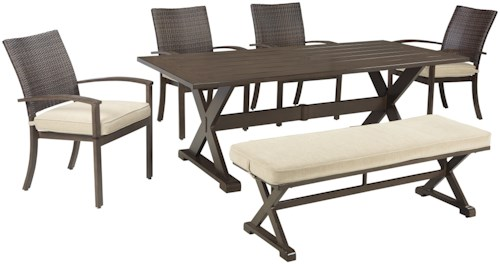 Signature Design By Ashley Moresdale Outdoor Dining Set With Bench Pilgrim Furniture City
