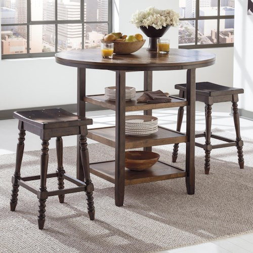 Signature Design by Ashley Moriann 3-Piece Counter Table Set with Backless Barstools