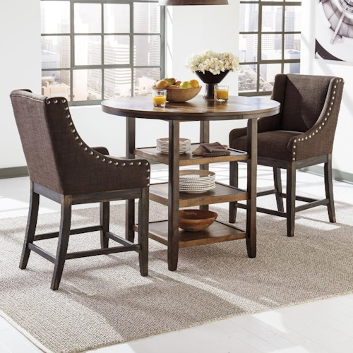 Signature Design by Ashley Moriann 3-Piece Counter Table Set with Brown Sloped Arm Barstools