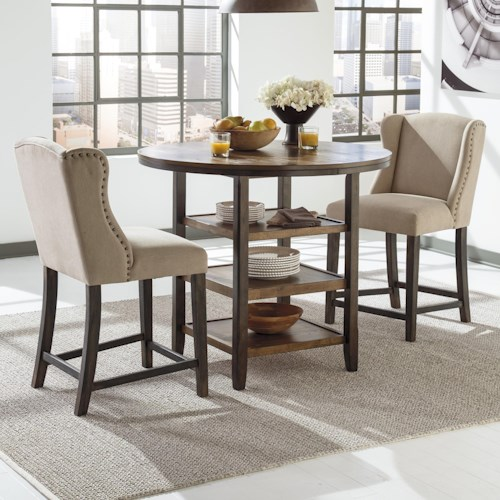 Signature Design by Ashley Moriann 3-Piece Counter Table Set with Beige Wing Back Barstools
