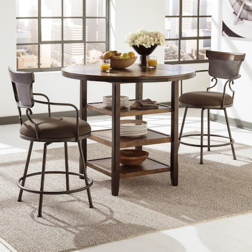 Signature Design By Ashley Moriann 3 Piece Counter Table Set With Metal Swivel Barstools