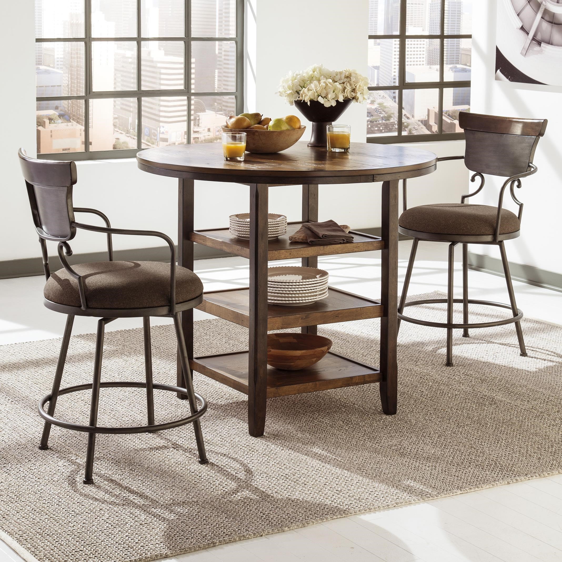 Ashley Signature Design Moriann 3 Piece Counter Table Set With Metal Swivel  Barstools | Dunk U0026 Bright Furniture | Pub Table And Stool Sets