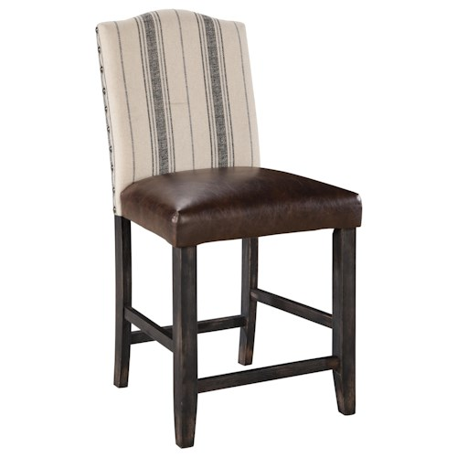 Signature Design by Ashley Moriann Upholstered Barstool with Striped Linen Look Fabric & Brown Faux Leather