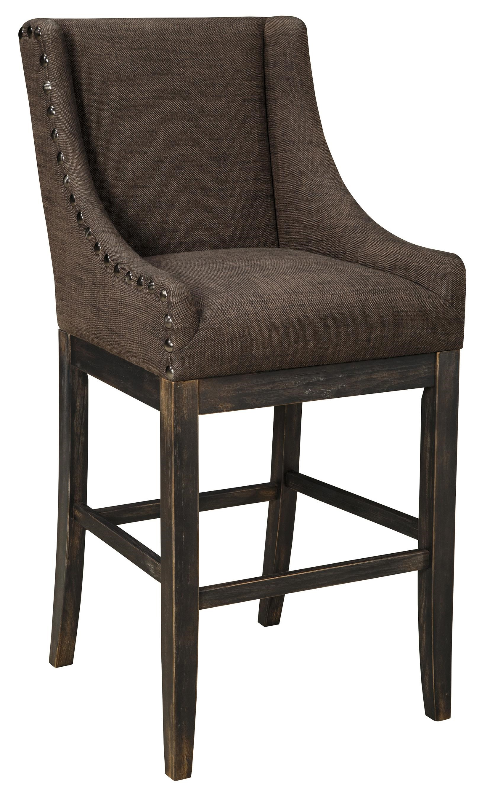 Signature Design by Ashley Moriann Tall Upholstered Barstool with Sloping Wing Arms Textured Brown Fabric