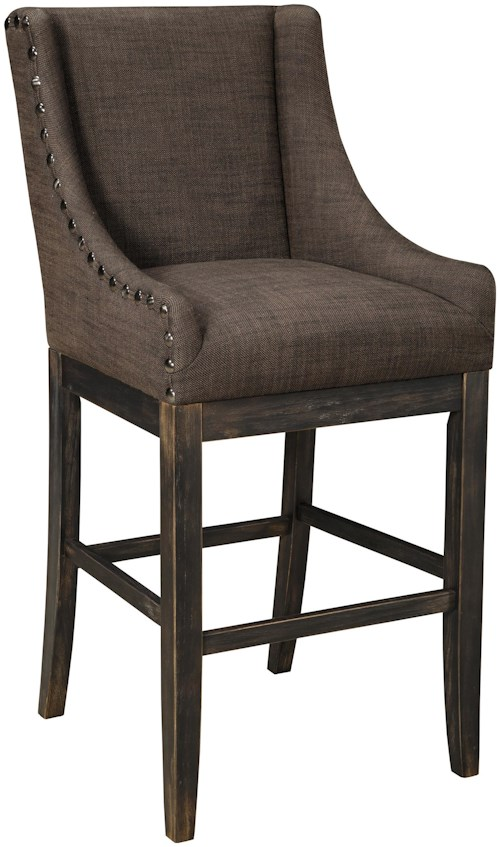 Signature Design by Ashley Moriann Tall Upholstered Barstool with Sloping Wing Arms & Textured Brown Fabric