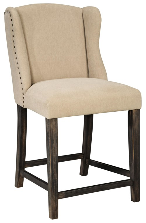 Moriann Upholstered Barstool With Wing Back Amp Beige Fabric