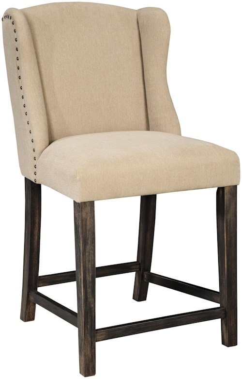 Signature Design by Ashley Moriann Upholstered Barstool with Wing Back & Beige Fabric