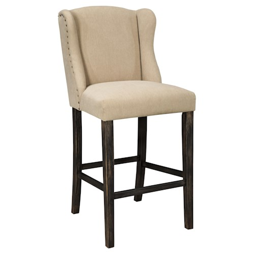 Signature Design by Ashley Moriann Tall Upholstered Barstool with Wing Back & Beige Fabric