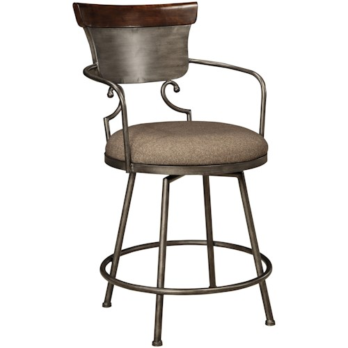 Signature Design by Ashley Moriann Upholstered Barstool with Metal Frame & Swivel Seat