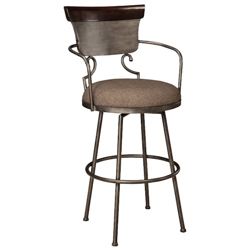 Signature Design by Ashley Moriann Tall Upholstered Barstool with Metal Frame & Swivel Seat