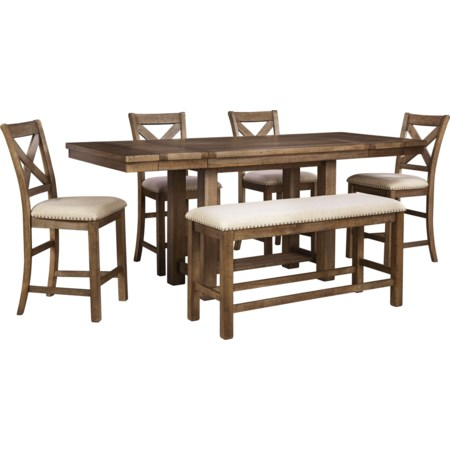 6-Piece Rectangular Counter Table w/ Bench