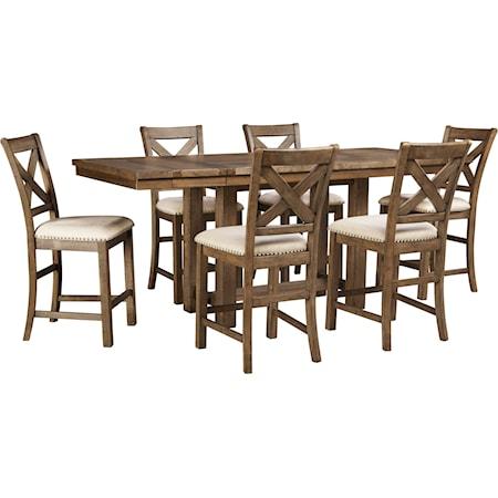 7-Piece Rectangular Ext Counter Table Set
