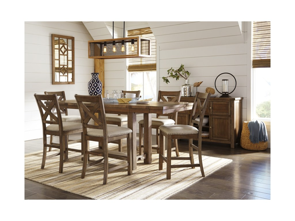 Ashley (Signature Design) Moriville7-Piece Rectangular Extension Table Set