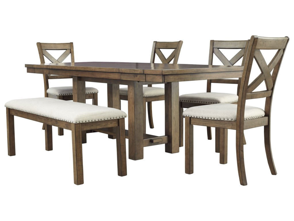 Signature Design by Ashley Moriville6-Piece Table and Chair Set with Bench