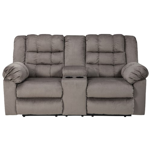 Signature Design by Ashley Mort Casual Contemporary Double Reclining Loveseat w/ Console
