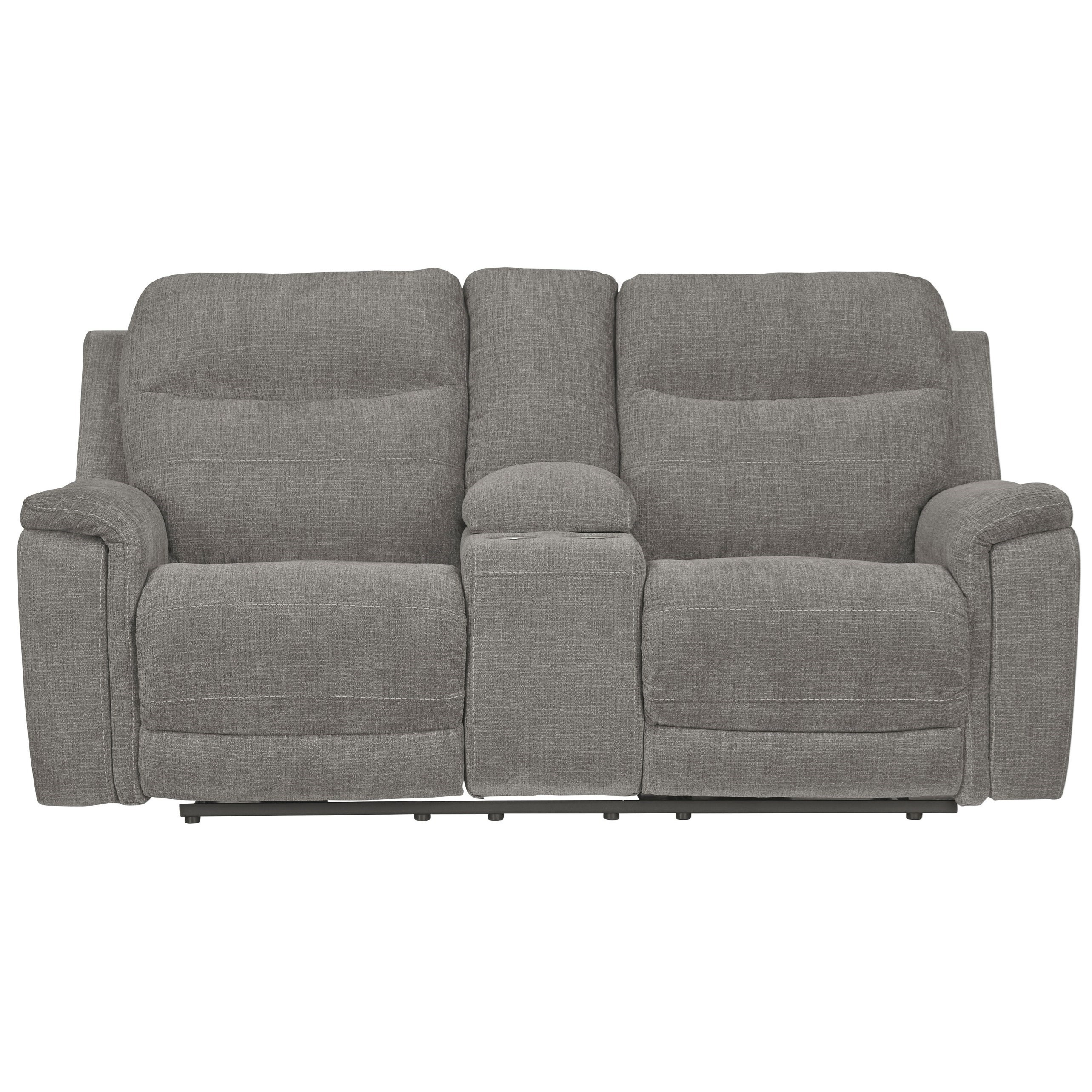 Picture of: Signature Design By Ashley Mouttrie Contemporary Power Reclining Loveseat With Console Adjustable Headrests Royal Furniture Reclining Loveseats