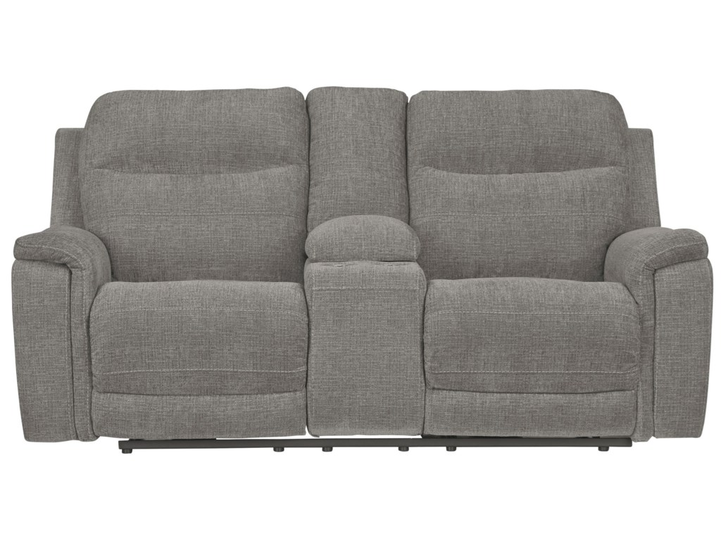 Signature Design by Ashley MouttriePwr Rec Loveseat with Console & Adj Hdrsts