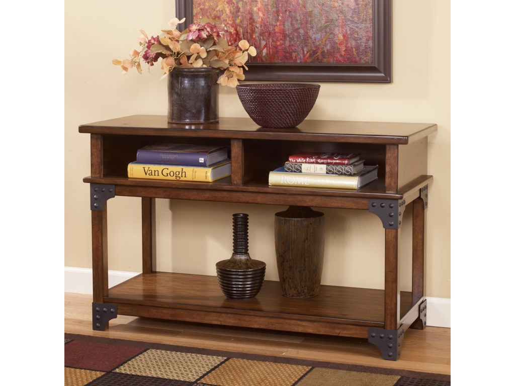Murphy Rustic Sofa Table / TV Console with Metal Brackets by Signature  Design by Ashley at Furniture and ApplianceMart