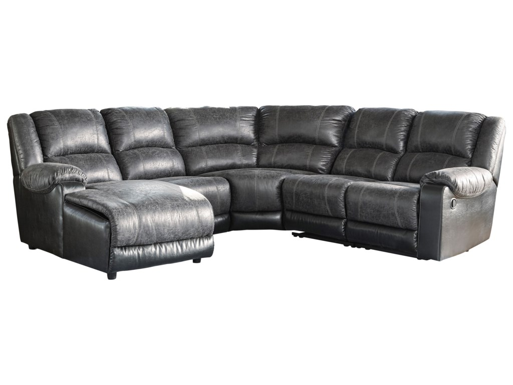 Nantahala Faux Leather Reclining Sectional with Chaise by Signature Design  by Ashley at Royal Furniture