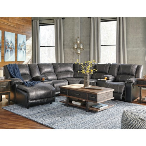 Nantahala Faux Leather Reclining Sectional with 2 Consoles & Chaise by  Signature Design by Ashley