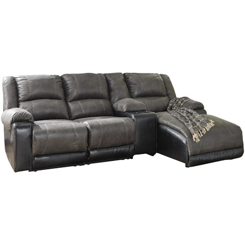 Signature Design by Ashley Nantahala Reclining Chaise Sofa with Storage Console