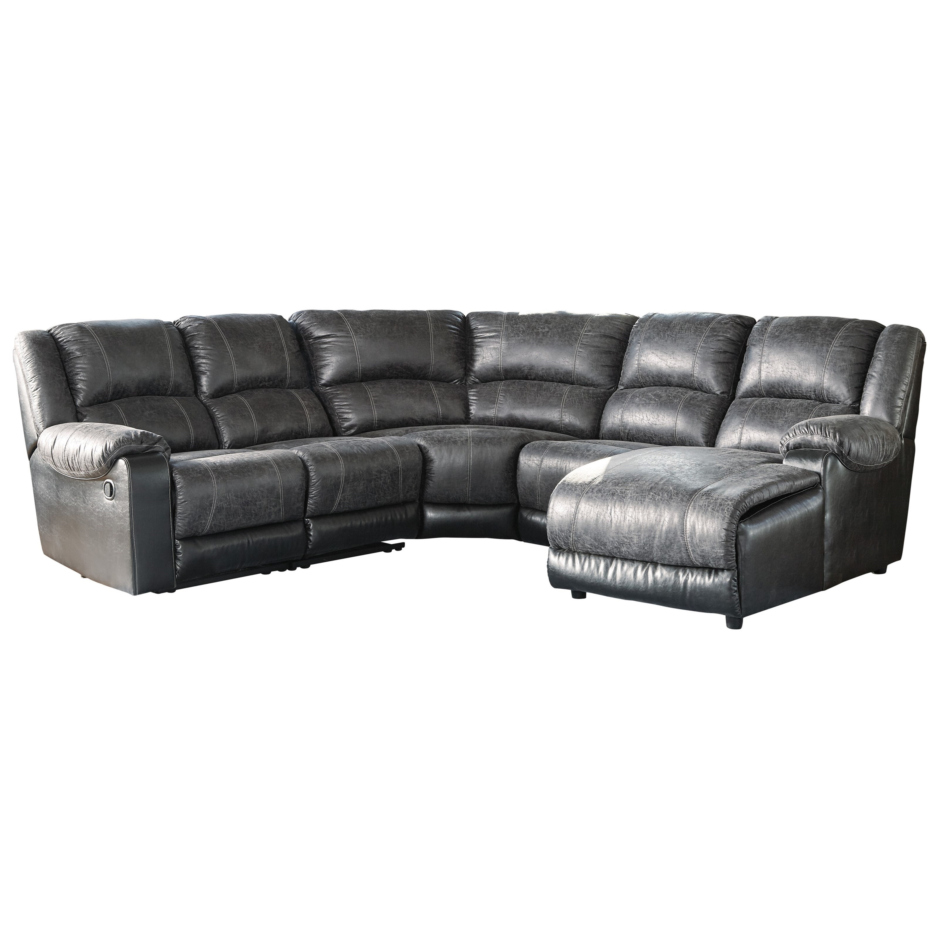Picture of: Signature Design By Ashley Nantahala Faux Leather Reclining Sectional With Chaise Wayside Furniture Reclining Sectional Sofas