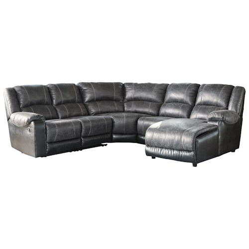 Signature design by ashley nantahala reclining sectional for Ashley furniture leather sectional with chaise