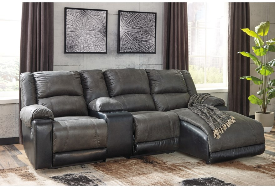 Nantahala Reclining Chaise Sofa with Storage Console by Signature Design by  Ashley at Houston\'s Yuma Furniture