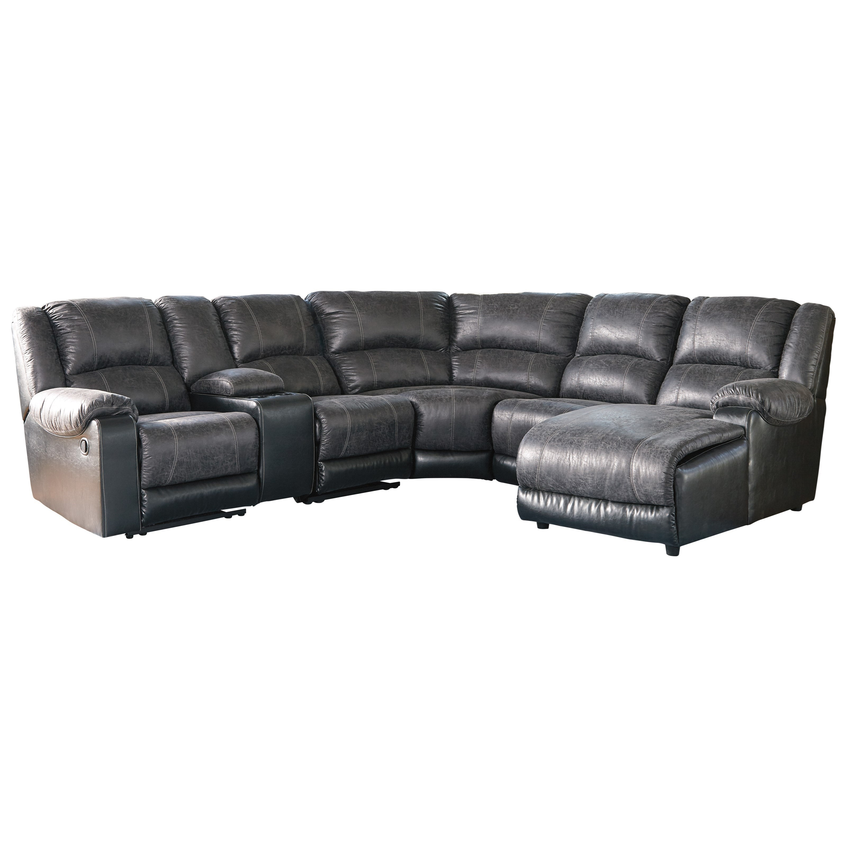Nantahala Faux Leather Reclining Sectional With Chaise U0026 Console By  Signature Design By Ashley