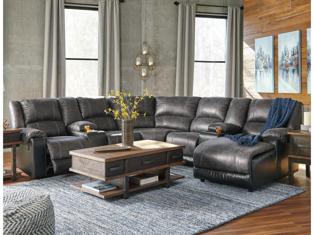 Signature Design by Ashley NantahalaReclining Sectional with 2 Consoles & Chaise
