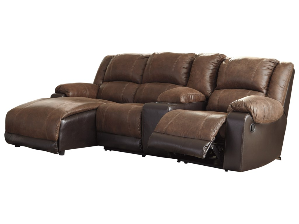 Nantahala Reclining Chaise Sofa With Storage Console By Signature Design Ashley At John V Schultz Furniture