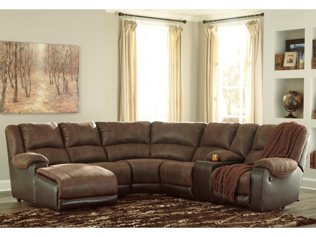 Nantahala Faux Leather Reclining Sectional with Chaise & Console by  Signature Design by Ashley at Royal Furniture
