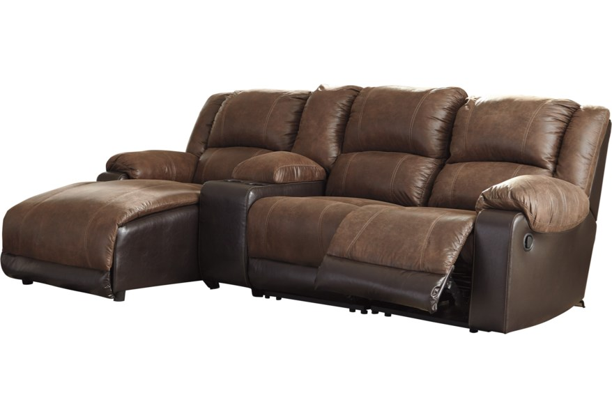 Nantahala Reclining Chaise Sofa with Storage Console by Signature Design by  Ashley at Furniture and ApplianceMart