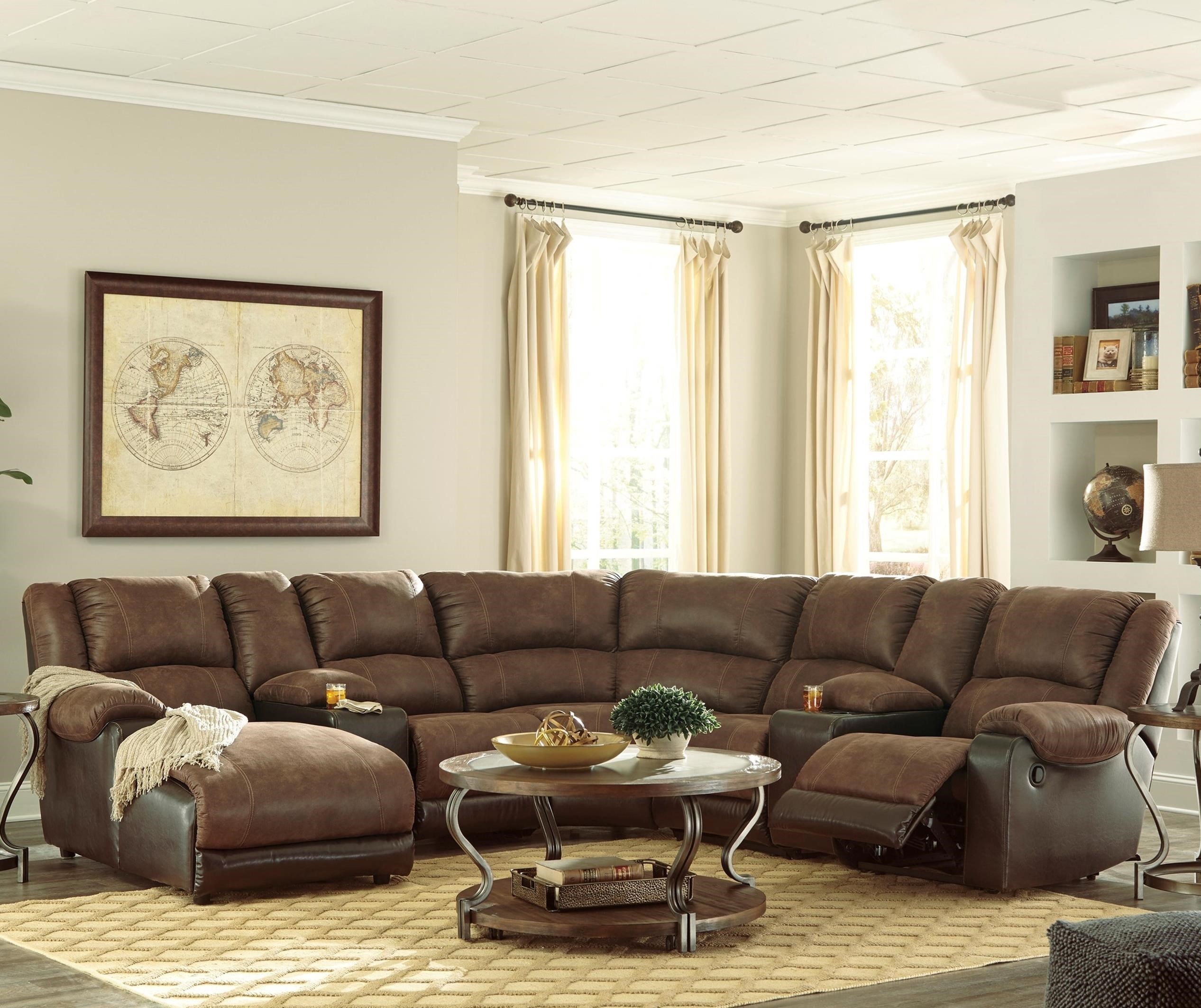 Signature Design by Ashley Nantahala Faux Leather Reclining Sectional with 2 Consoles u0026 Chaise  sc 1 st  Value City Furniture : sectional with reclining chaise - Sectionals, Sofas & Couches