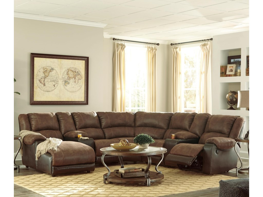 Nantahala Faux Leather Reclining Sectional with 2 Consoles & Chaise by  Signature Design by Ashley at Lindy\'s Furniture Company