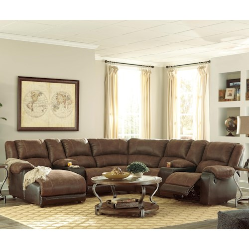 Signature Design By Ashley Nantahala Faux Leather Reclining Sectional With 2 Consoles Chaise