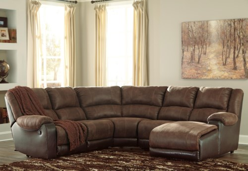 Contemporary Signature Design by Ashley Nantahala Faux Leather Reclining Sectional with Chaise Minimalist - Simple Sofa with Chaise and Recliner New Design