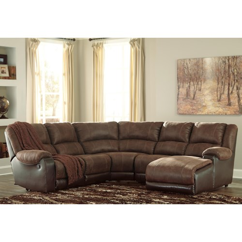 Styleline Nantahala Faux Leather Reclining Sectional With Chaise