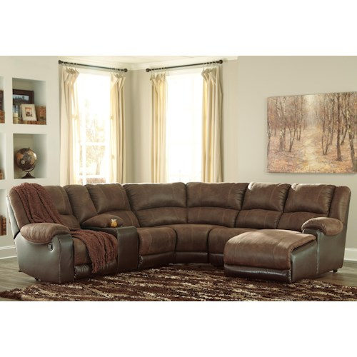 Signature design by ashley nantahala faux leather for Ashley reclining chaise