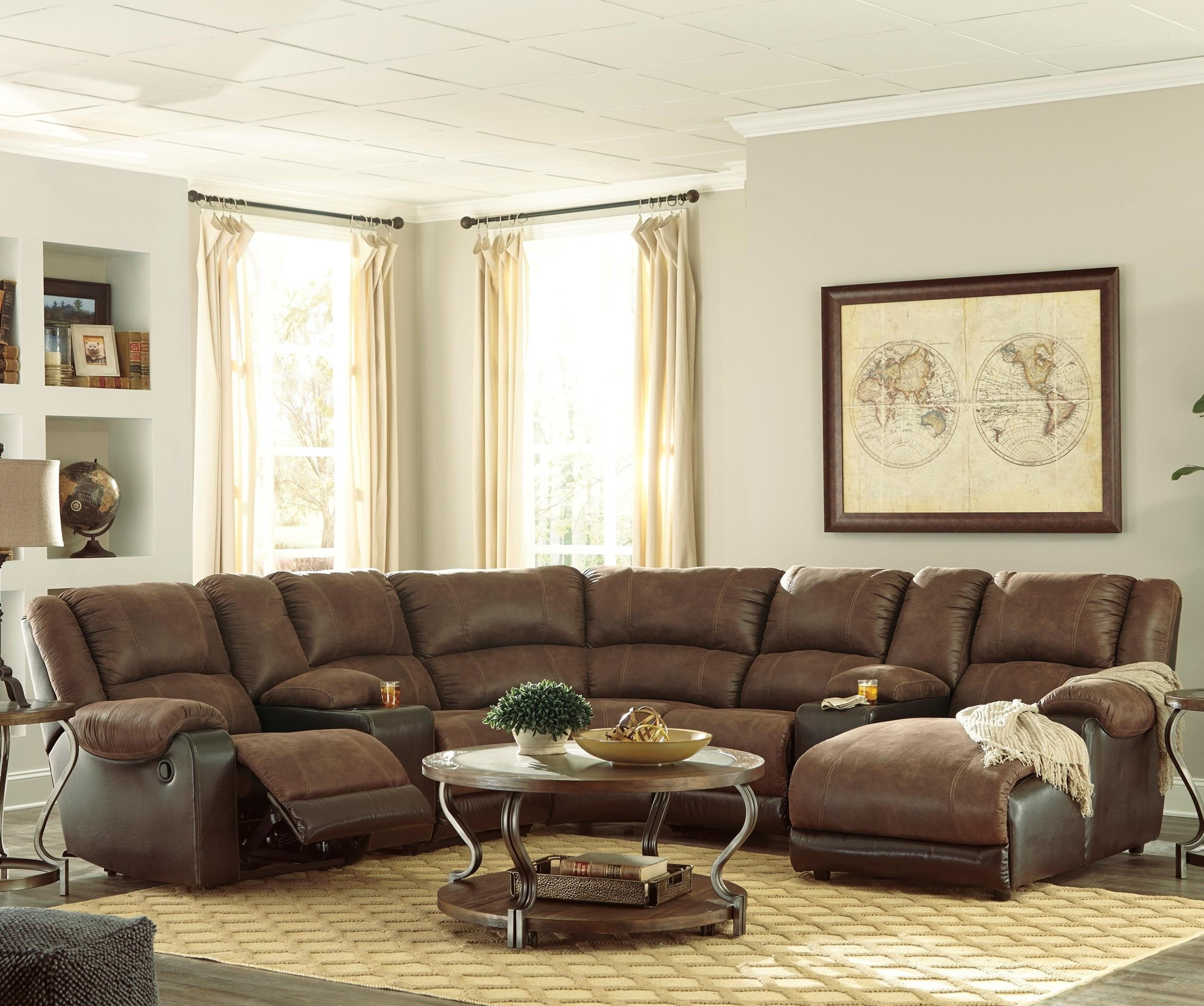 Signature Design by Ashley Nantahala Faux Leather Reclining Sectional with 2 Consoles u0026 Chaise  sc 1 st  Value City Furniture & Signature Design by Ashley Nantahala Faux Leather Reclining ... islam-shia.org