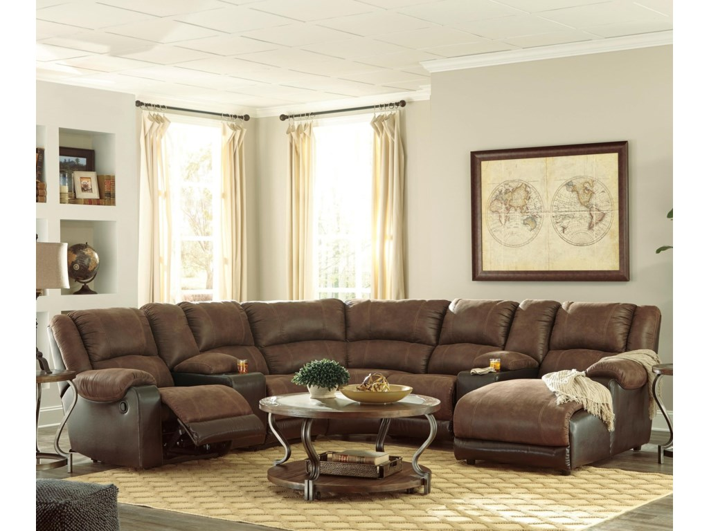 Nantahala Faux Leather Reclining Sectional with 2 Consoles & Chaise by  Signature Design by Ashley at Household Furniture